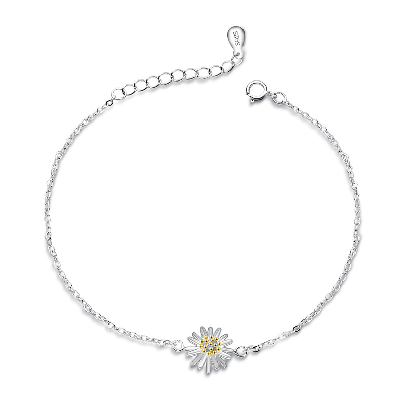 Fashion Daisy Anklets 925 Sterling Silver for Women F026