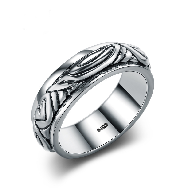 Simple Fashion Ring 925 Sterling Silver Ring for Men E463