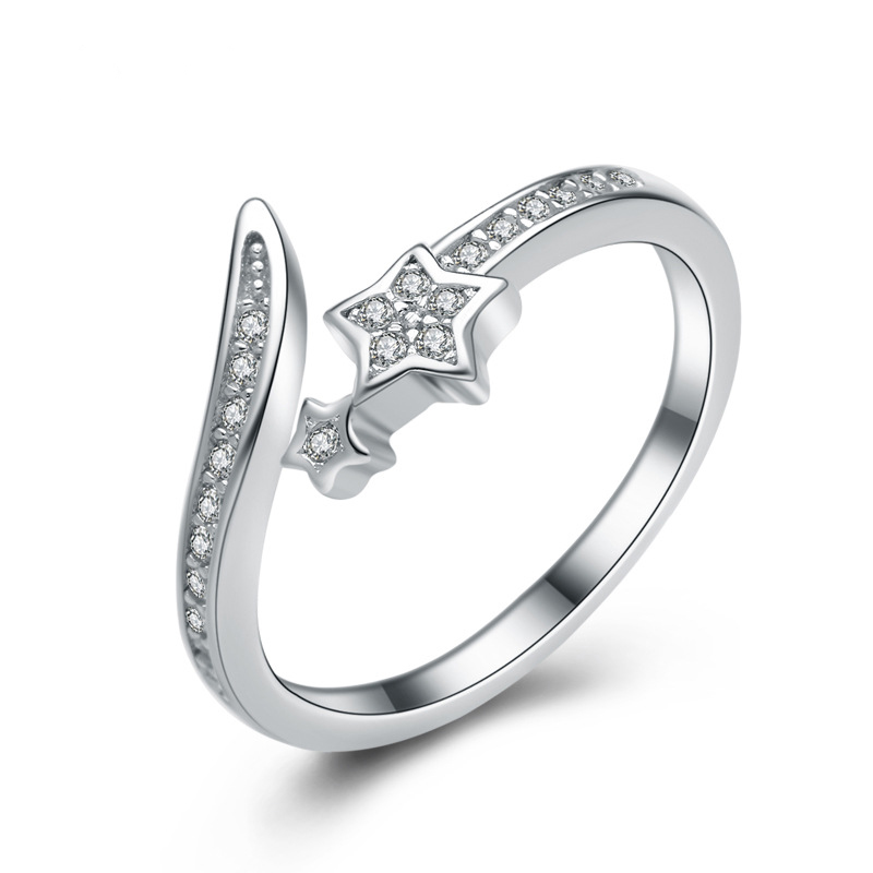 Created Star Diamond Ring 925 Sterling Silver Ring for Women E239