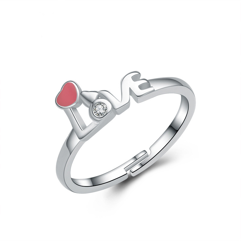 Love Heart Diamond Female Ring 925 Sterling Silver E344