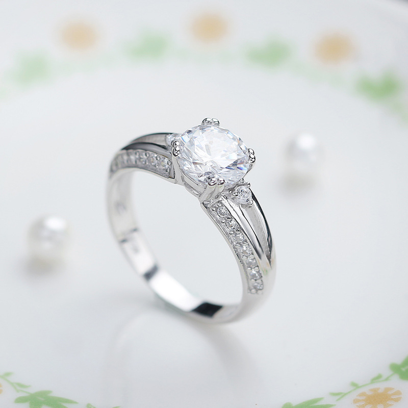 Simple Geometric Diamond Female Ring 925 Sterling Silver Ring E776