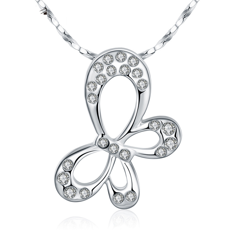 Fashion Diamond Plated Butterfly Crystal Pendant for Women AKN008