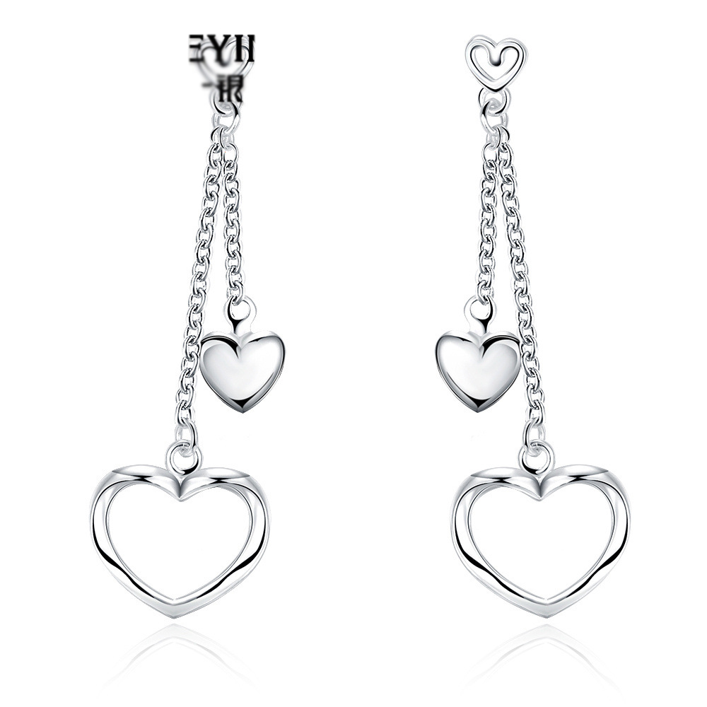 Fashion Double Heart Drop Earrings For Women LKNSPCE651