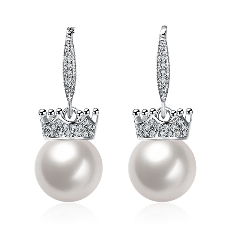 Zircon Shell Pearl Earings 925 Sterling Silver Long Earrings For Women LKNPLE063