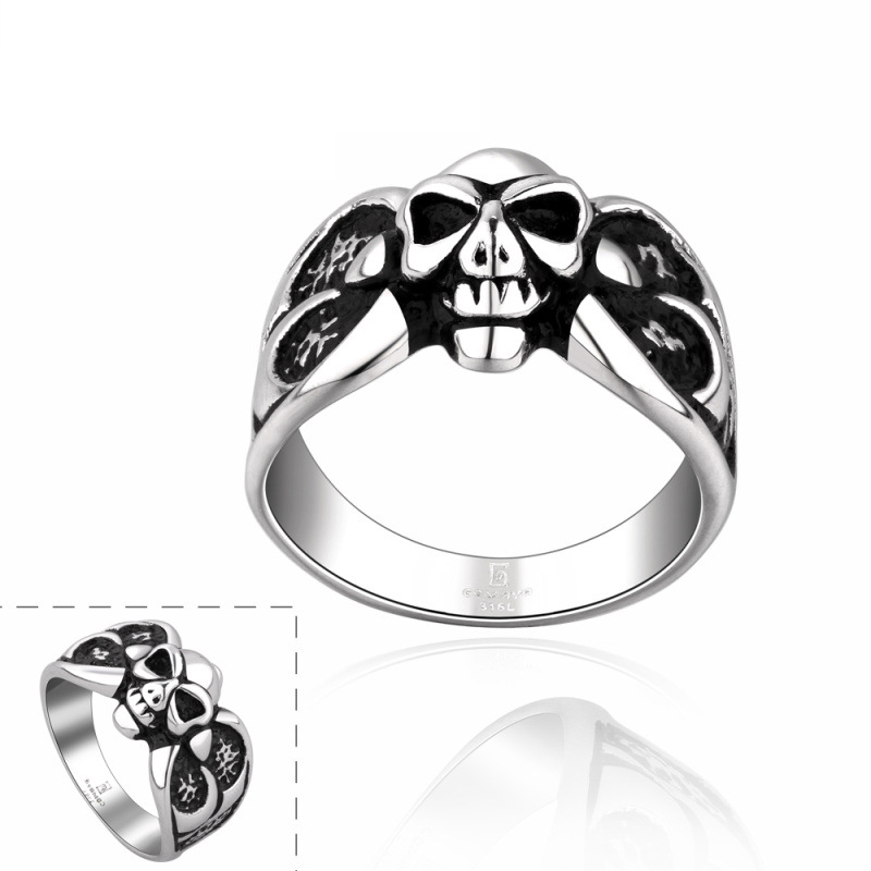 Vintage Punk Style Skull PVD Rings for Men GMYR009