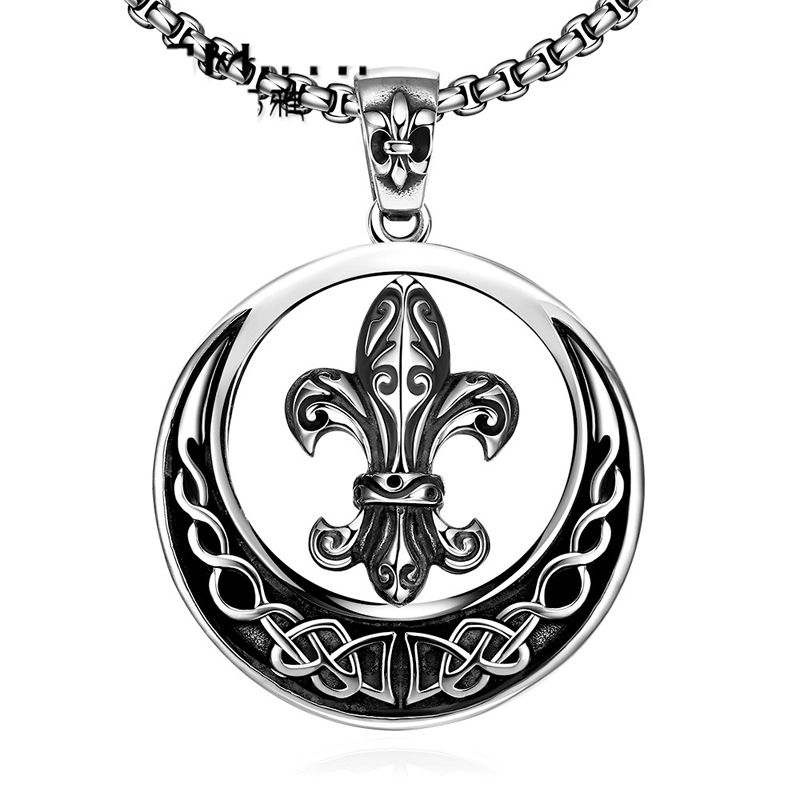 Vintage Warrior Round Pendant Necklaces For Men GMYN041