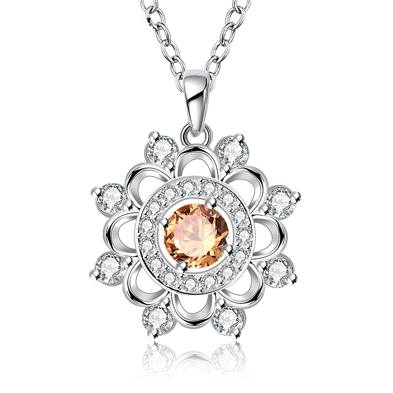 Luxury Flower Pendant with Zircon For Women LKNSPCN731