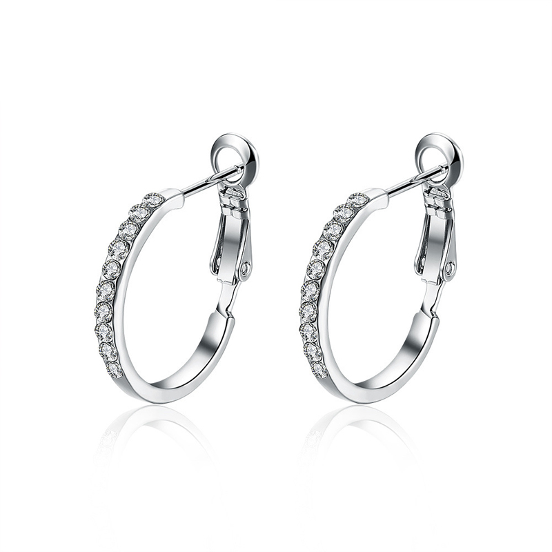 Fashion Female 925 Sterling Silver Diamond Earrings LKN18KRGPE389