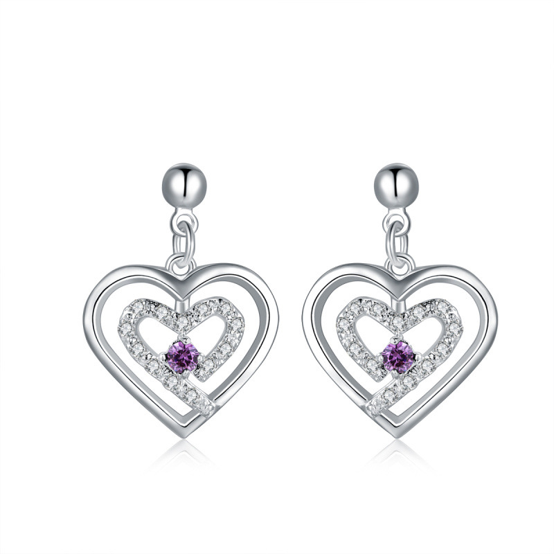 Silver Heart Shaped Stud Earring For Women LKNSPCE525