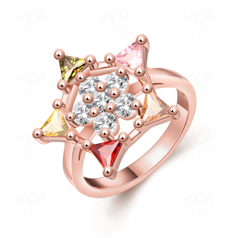 Created Star Shaped Cubic Zircon Rings for Women KZCR246