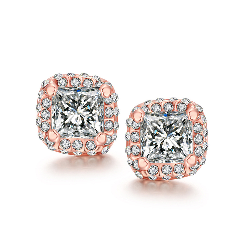 New Fashion Rose Gold Diamond Earrings For Women AKE041
