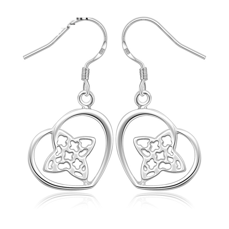 Classic Heart Shaped Silver Earrings For Women LKNSPCE358