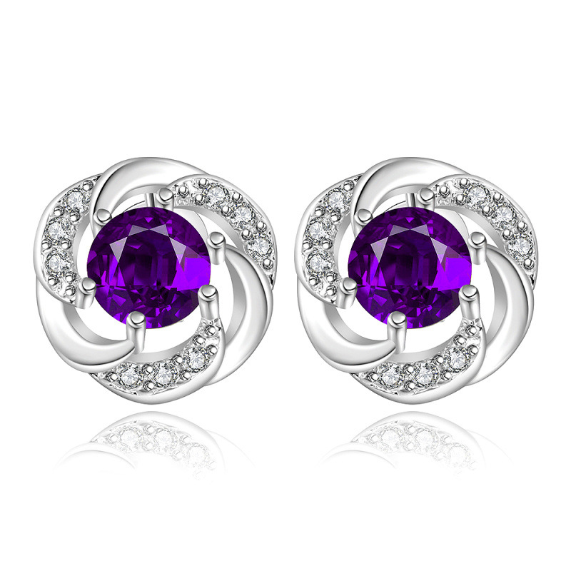 Classic Plant Flower Stud Earrings For Women LKNSPCE436