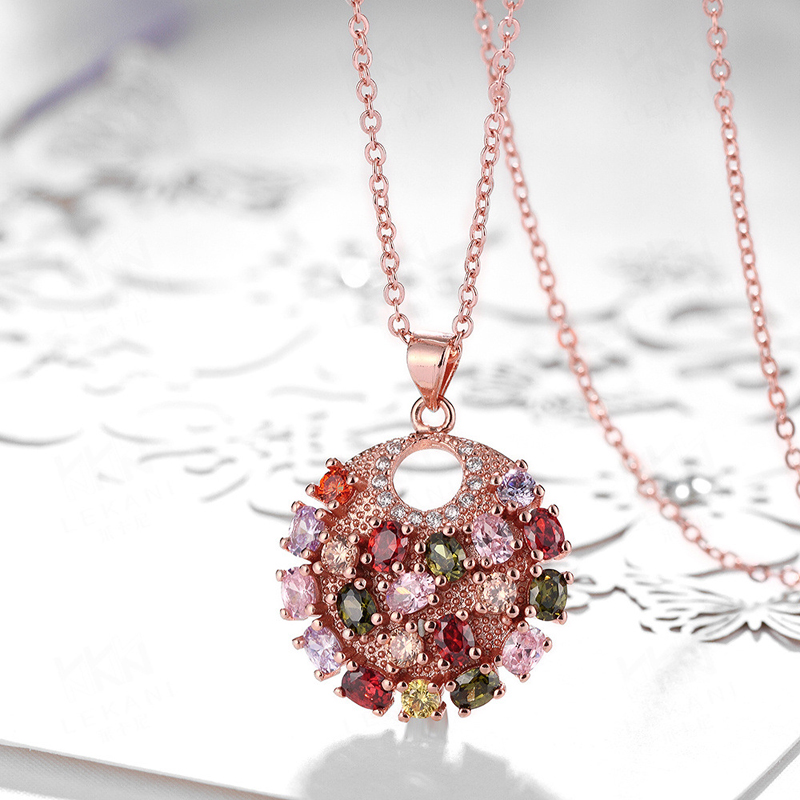 Colorful Zirconia Round Flower Pendant For Women KZCN087