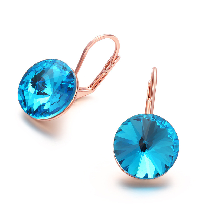 New Blue Crystal Diamond Earrings For Women AKE042