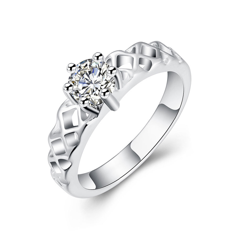 Simple Design Diamond Silver Ring for Women LKNSPCR197