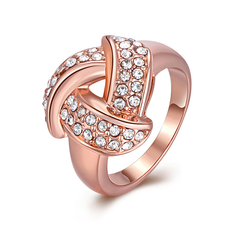 Geometry Style Rose Gold Diamond Ring for Women LKN18KRGPR081