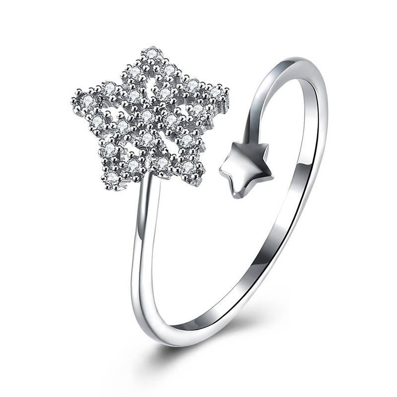 925 Sterling Silver Star Shape Ring for Women SVR088