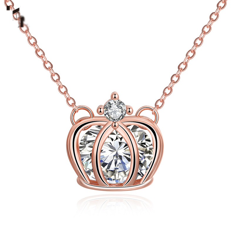 Rose Gold Crown Pendant Necklace For Women AKN016