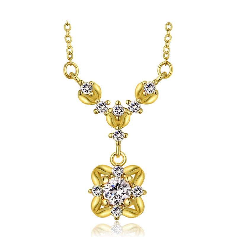 Classic Flower Shape Zircon Pendant For Women LKN18KRGPN850