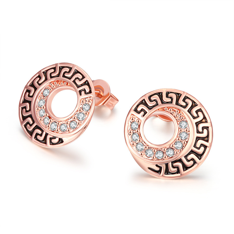 New Arrival Rose Gold Diamond Earrings For Women AKE012