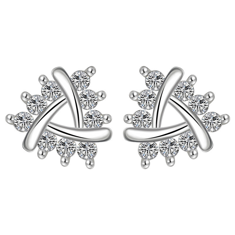 925 Sterling Silver Flower Stud Earrings For Women LKNSPCE622