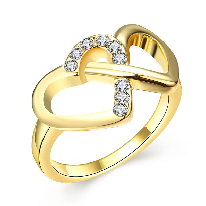Double Heart Diamond Wedding Rings for Women AKR070
