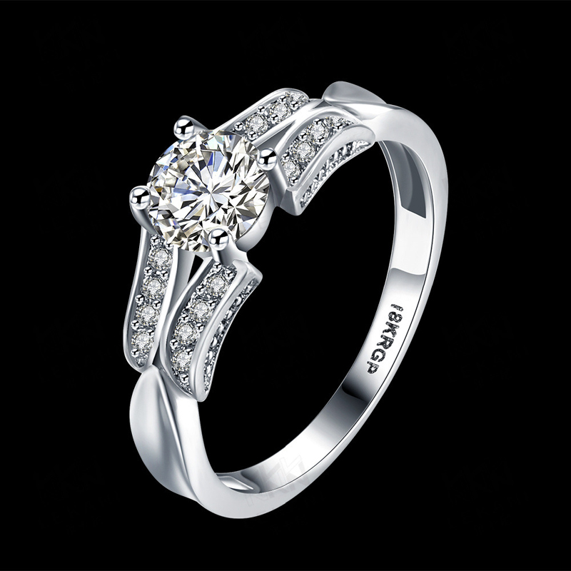 Luxury Female 925 Sterling Silver Diamond Ring LKN18KRGPR814-C