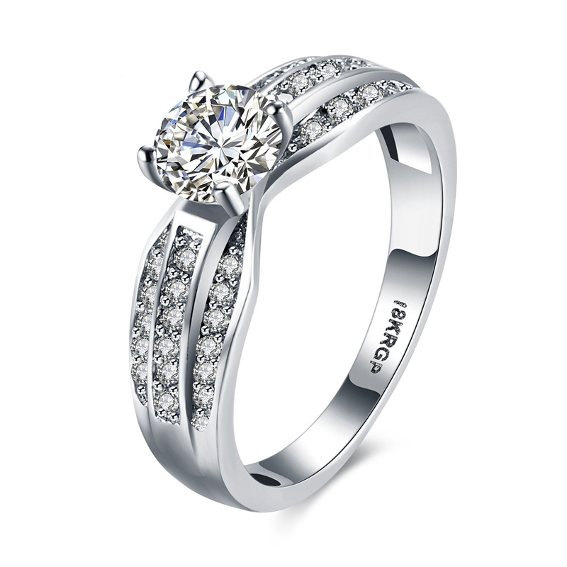 Luxury Diamond Ring 925 Sterling Silver for Women LKN18KRGPR834-C