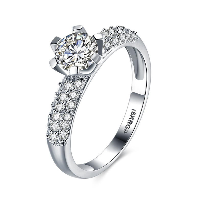 Fashion Zircon Diamond Ring for Women LKN18KRGPR812-C