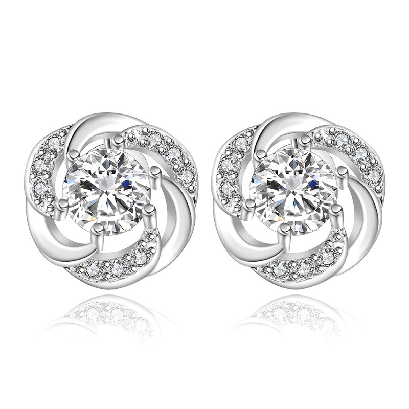 Diamond Round Stud Earrings For Women LKNSPC E438