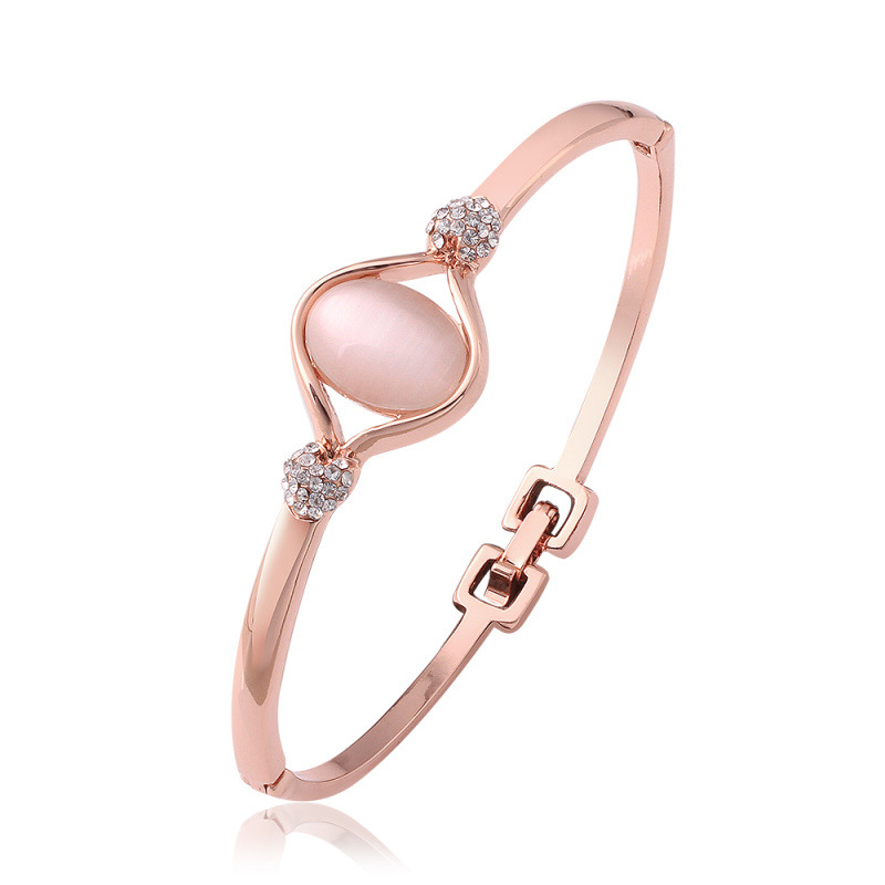 Rose Gold Oval Opal Stone Bracelet for Women LKN18KRGPZ048