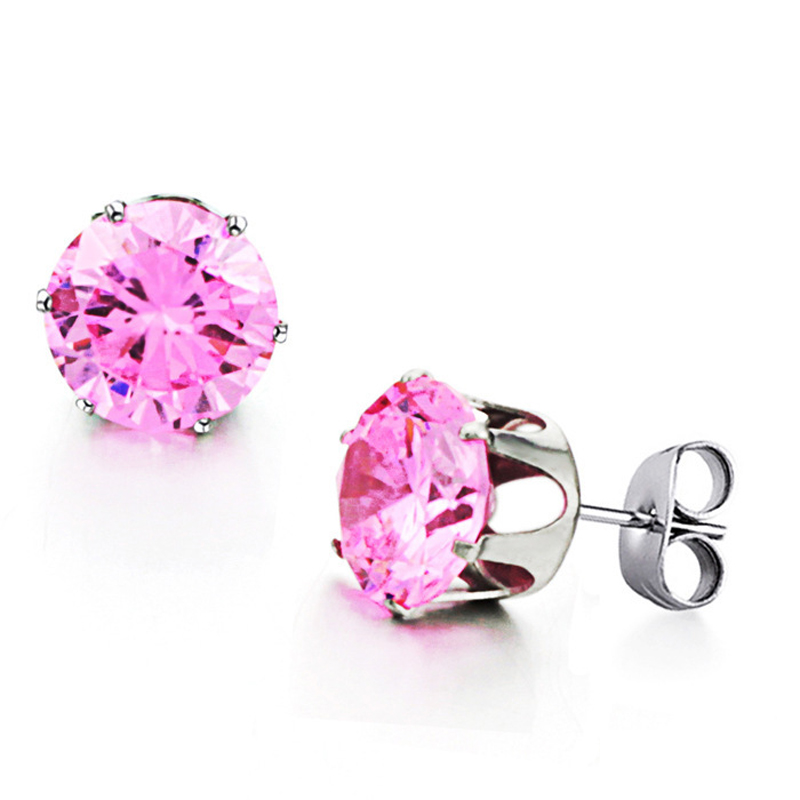 Sweet Pink Diamond Earrings For Women Ear Jewelry Earrings GE218FD