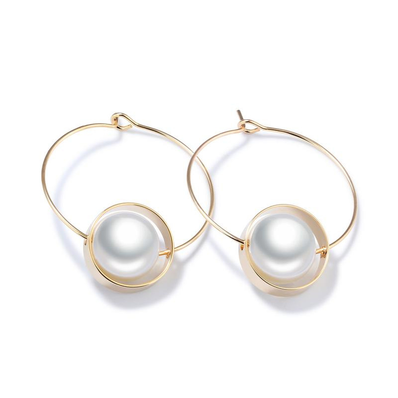 Fashion Simulated Pearl Circle Earrings Drop Earrings For Women KE700