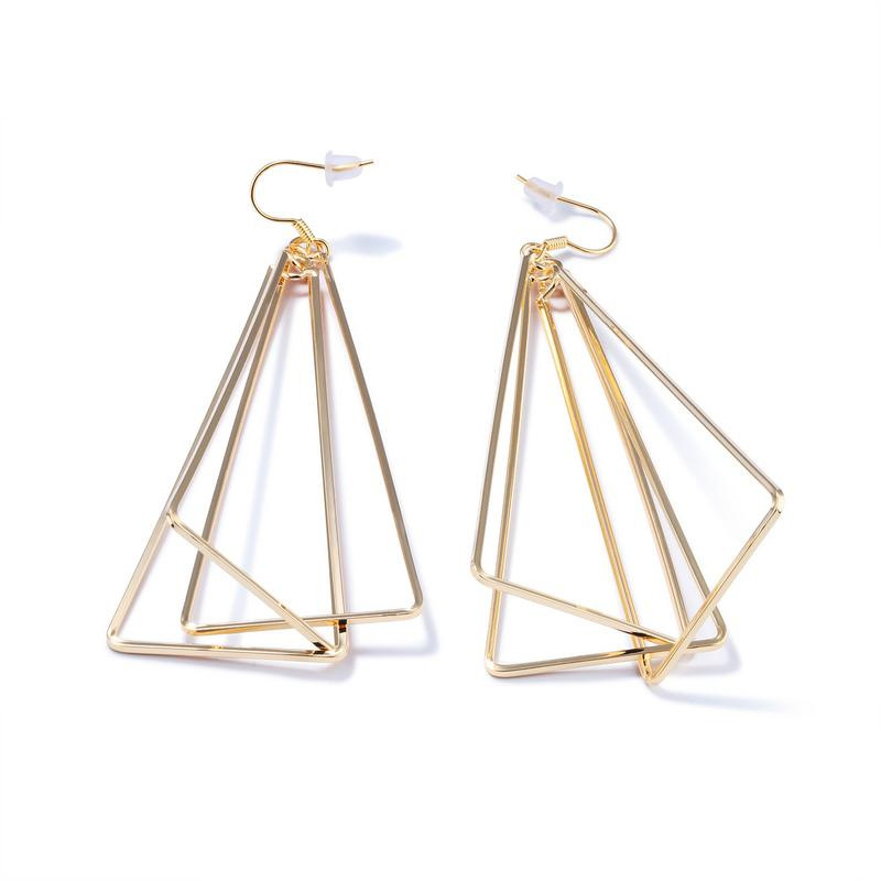 Geometrical Style Retro Long Drop Triangle Design Earrings For Women KE694