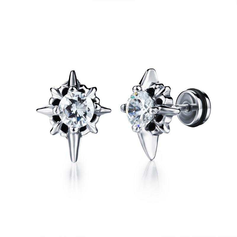New Arrival Punk Silver Stud Earrings Ear Stud Earrings for Men GE318
