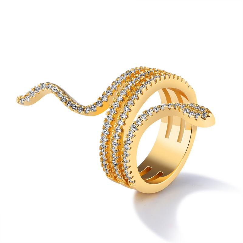Luxury Elegent Finger Rings  Snake Shape Diamond Rings For Women KJ054
