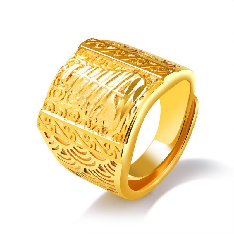 Luxury Style Yellow Gold Punk Rock Rings Design For Men KJ048