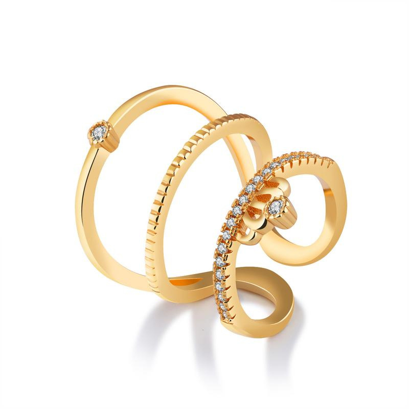 Vintage Elegant Luxury Yellow Gold Wedding Rings Design For Women KJ053