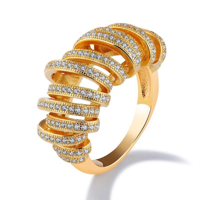 Luxury Elegant Yellow Gold Wedding Diamond Rings For Women KJ056