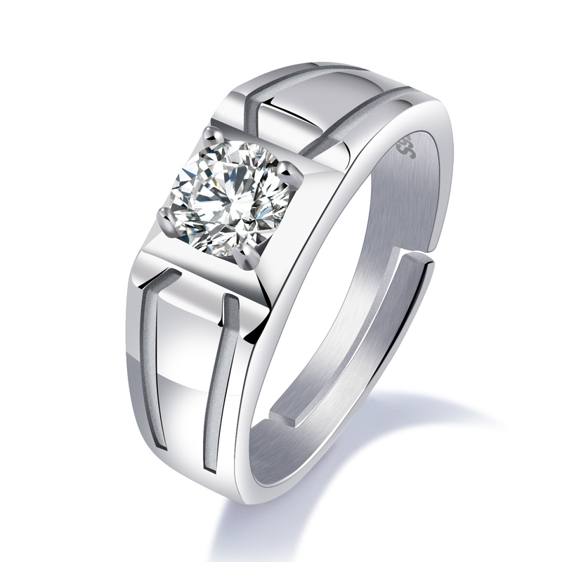 Luxury Men Inlaid Square Zirconia Size Adjustable Diamond Ring SJ004