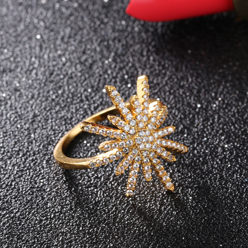 Unique Luxury Snowflakes Shape Party Dating Diamond Ring KJ062