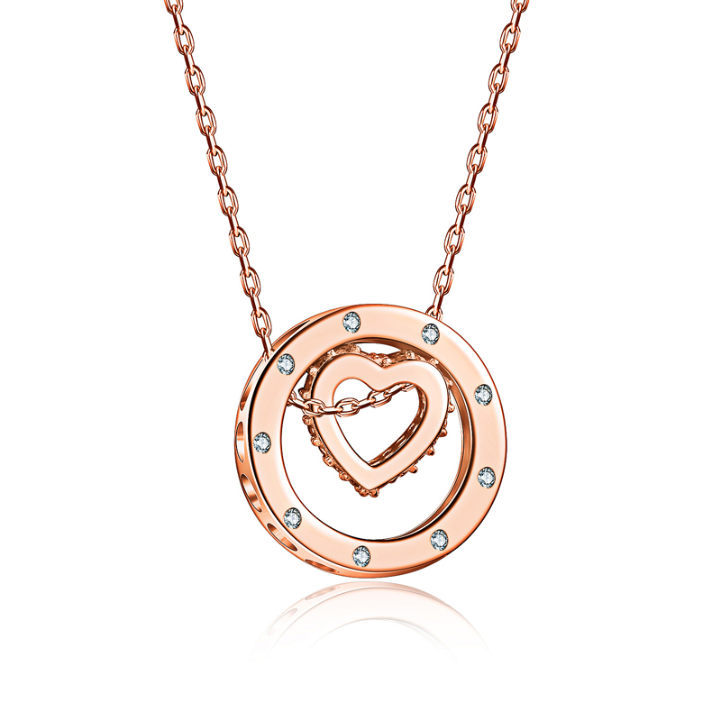 New Creative Heart Design Diamond Pendant Necklace for Women SX002