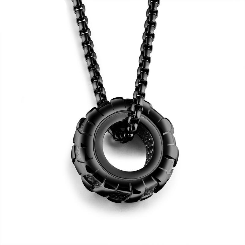 Punk Style Personality Jewelry Car Tires Pendant Necklaces For Men GX1169