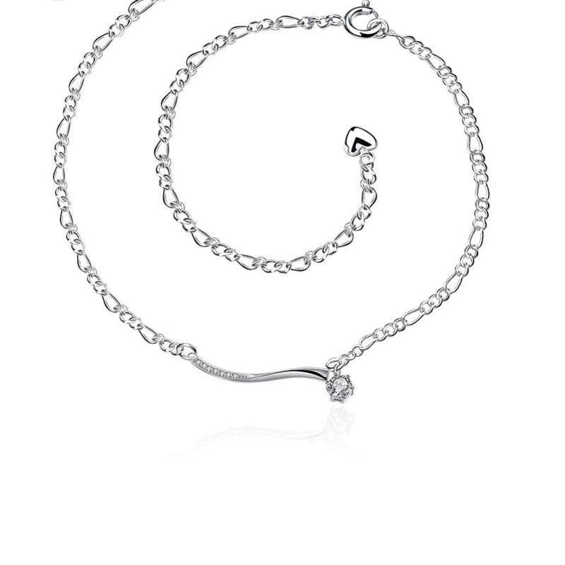 Silver Plated Fashion Jewelry Beauty Rhinestone Chain Anklets for Girls