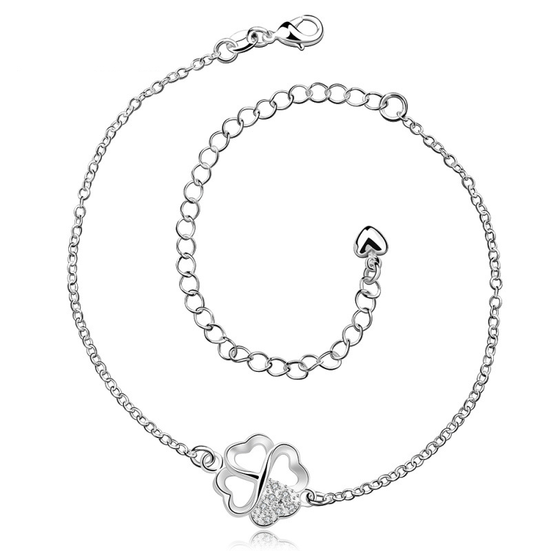 Fashion Clover 925 Jewelry Silver Plated Girls Foot Anklet