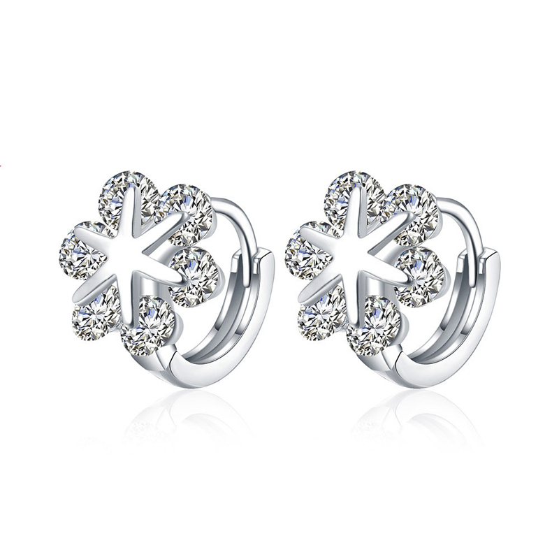 Classic Flower Jewelry Clip On Silver Plated Earrings for Women