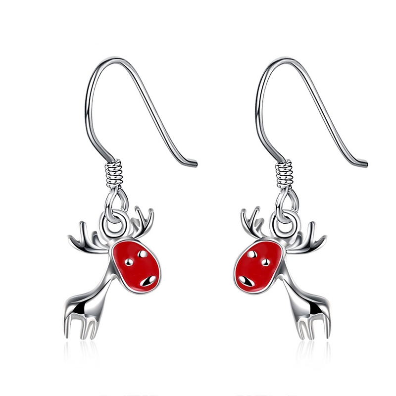 Fashion Red Christmas Deer Drop Silver Plated Earrings for Girls