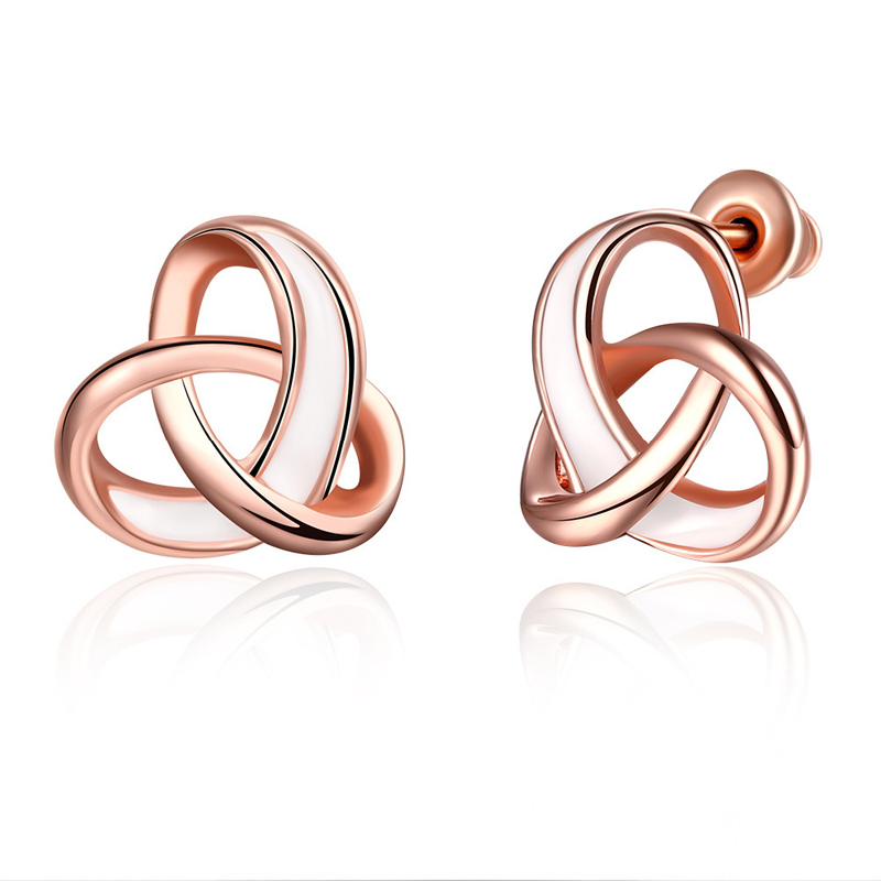 Romantic Cross-linked Rose Gold Plated Earrings for Girls