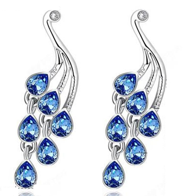 White Gold Blue Crystal Long Waterdrop Earrings For Women